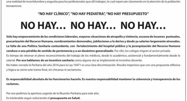 """SOLICITADA EN EL DIARIO HOY DE LA PLATA: """"SE SIGUE DESTRUYENDO AL MODELO PÚBLICO DE ATENCIÓN"""""""